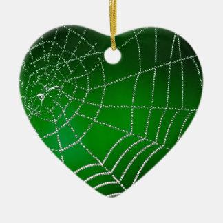 Dew on spiderweb ceramic ornament