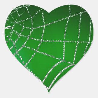 Dew on spiderweb heart sticker