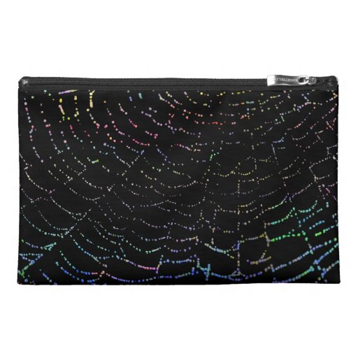 Dew Shiny Web Colorful On Black Background Design Travel Accessories Bags