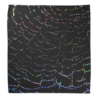 Dew Shiny Web Colorful On Black Background Design Bandana