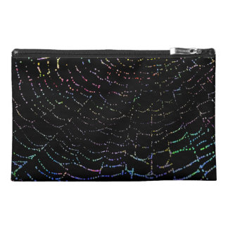 Dew Shiny Web Colorful On Black Background Design Travel Accessory Bag