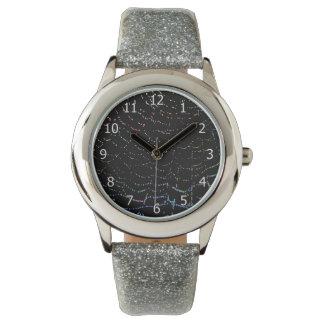 Dew Shiny Web Colorful On Black Background Design Wrist Watch