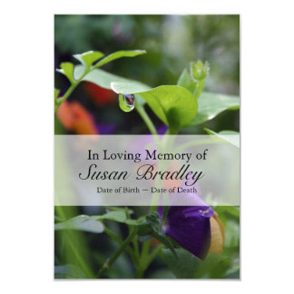 Dewdrop and Pansy Celebration of Life Invitation