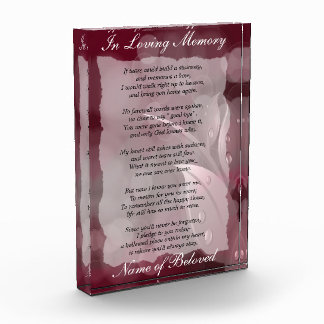 Dewey Autumn Leaves  Loving Memory Prayer Acrylic Award