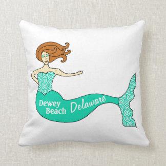 Dewey Beach, Delaware Mermaid Throw Pillow