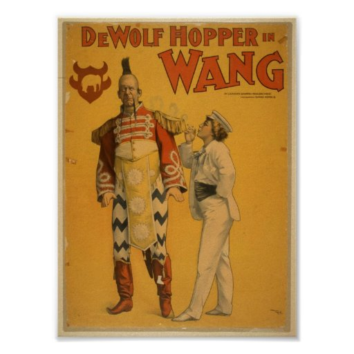DeWolf Hopper in 'Wang' Vintage Theater Poster