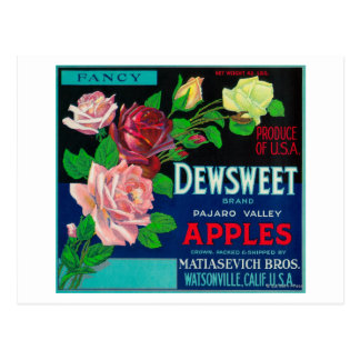 Dewsweet Apple Crate LabelWatsonville, CA Postcard