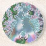 Dewy grass fractal drink coasters