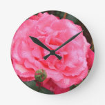 Dewy Pink Rose Round Wall Clock
