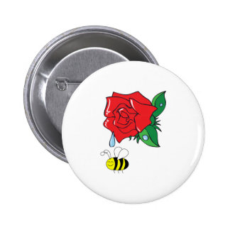 DEWY ROSE SHOWER PINBACK BUTTON