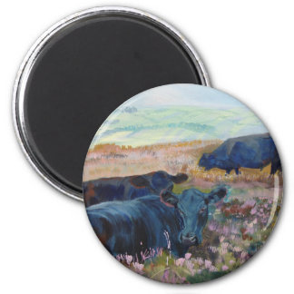 Dexter Cows on Dartmoor Acrylic Painting Poster 2 Inch Round Magnet