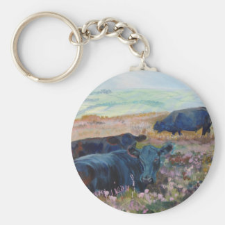 Dexter Cows on Dartmoor Acrylic Painting Poster Basic Round Button Keychain