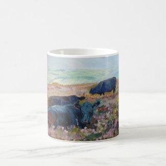 Dexter Cows on Dartmoor Acrylic Painting Poster Coffee Mug