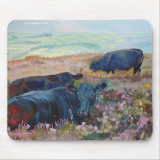 Dexter Cows on Dartmoor Acrylic Painting Poster Mousepad