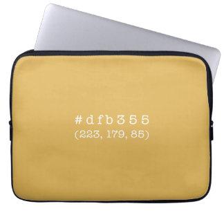 #dfb355 13' Laptop Sleeve (White text)