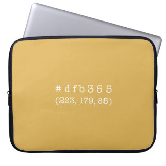 #dfb355 15' Laptop Sleeve (White text)