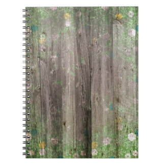 DFW DECORATIVE SCRAPBOOKING COUNTRY FLOWERS WOOD B SPIRAL NOTEBOOK
