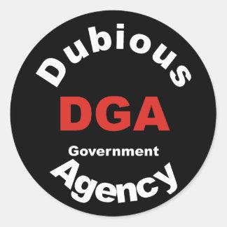 DGA dubious Government Agency Pegatina Redonda