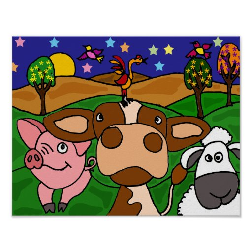 DH- Funny Folk Art  Barnyard Animals Poster