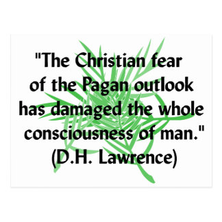 DH Lawrence Pagan Quote Postcard
