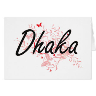 Dhaka Bangladesh City Artistic design with butterf Card