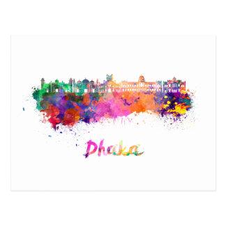 Dhaka skyline in watercolor postcard
