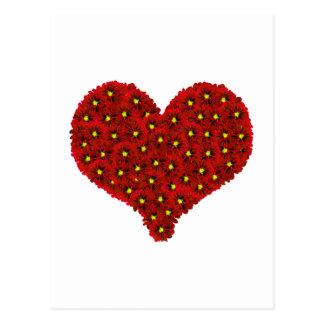 Dhalia rojo florece la postal del corazón