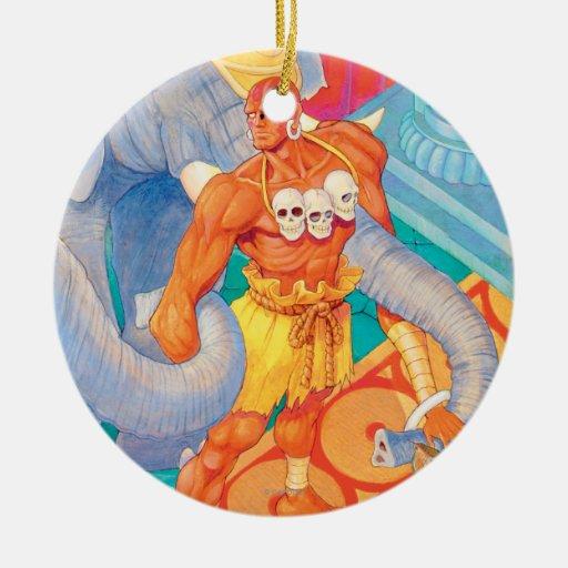 Dhalsim con los animales adorno navideño redondo de cerámica