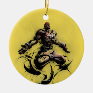 Dhalsim Floating Double-Sided Ceramic Round Christmas Ornament