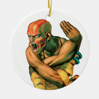 Dhalsim Twisted Double-Sided Ceramic Round Christmas Ornament