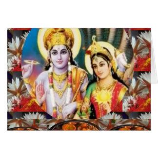 DHAN Laxmi n Lord Vishnu: for Display n Reference Greeting Card