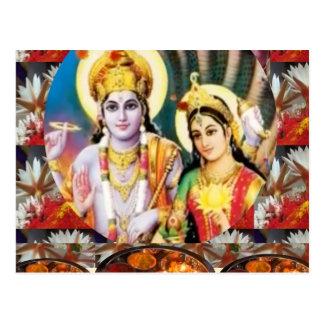 DHAN Laxmi n Lord Vishnu: for Display n Reference Postcard