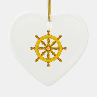 DHARMA BUDDHISM WHEEL Double-Sided HEART CERAMIC CHRISTMAS ORNAMENT