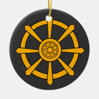 Dharma Wheel Ceramic Ornament