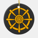 Dharma Wheel Double-Sided Ceramic Round Christmas Ornament
