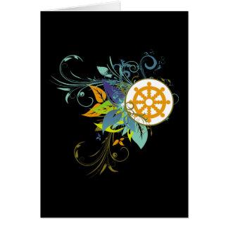 Dharma Wheel Floral Greeting Cards