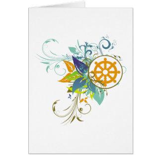 Dharma Wheel Floral Card