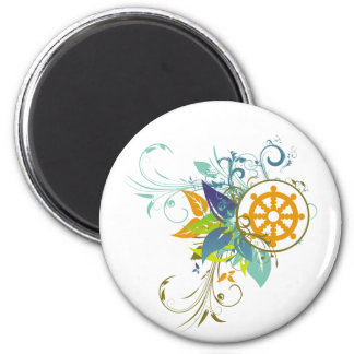 Dharma Wheel Floral Refrigerator Magnets