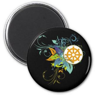 Dharma Wheel Floral Magnet