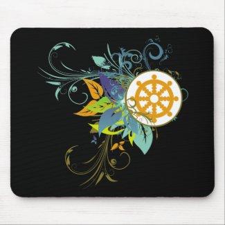 Dharma Wheel Floral mousepad
