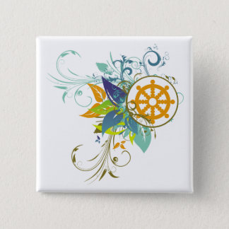 Dharma Wheel Floral Pinback Button