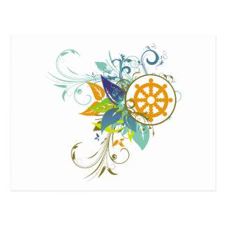 Dharma Wheel Floral Post Cards