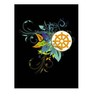 Dharma Wheel Floral Post Card
