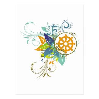 Dharma Wheel Floral Postcard