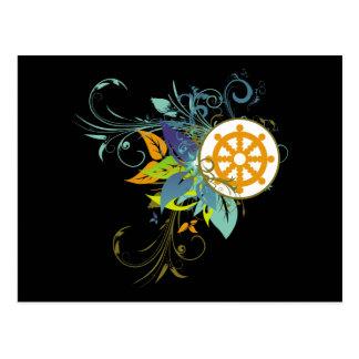 Dharma Wheel Floral Postcards