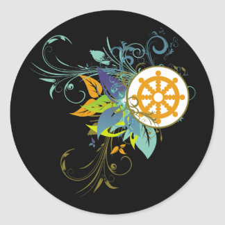 Dharma Wheel Floral Stickers