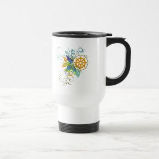 Dharma Wheel Floral Travel Mug