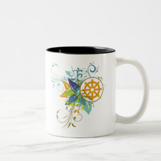 Dharma Wheel Floral Two-Tone Coffee Mug