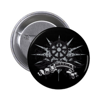Dharma Wheel Grunge 2 Inch Round Button