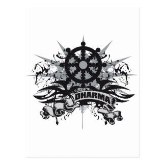 Dharma Wheel Grunge Post Cards